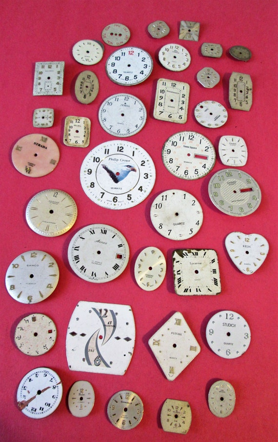 40 Vintage Wrist Watch Dials - Mixed Metals for your Watch Projects - Jewelry Making - Steampunk Art
