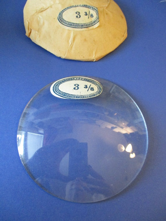 """3 3/8"""" Domed Glass for Antique & Vintage Clocks Stamped VTF Co. France Stk# 345"""