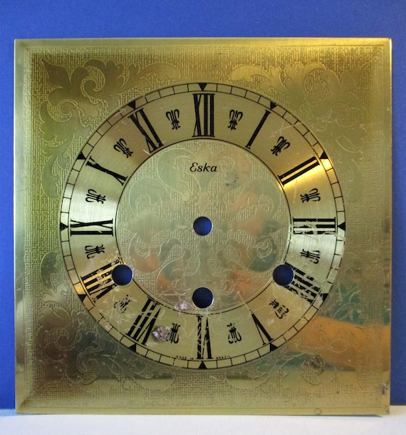Fancy Shiny Thick Pressed Solid Brass Eska Clock Dial for your Clock Projects - Art Stk# 138