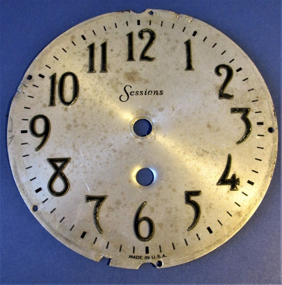 """5 1/4"""" Sessions Clock Co. Thick Aluminum Clock Dial with 3/4"""" Tall Numbers for your Clock Projects, Steampunk Art...Stk#622"""