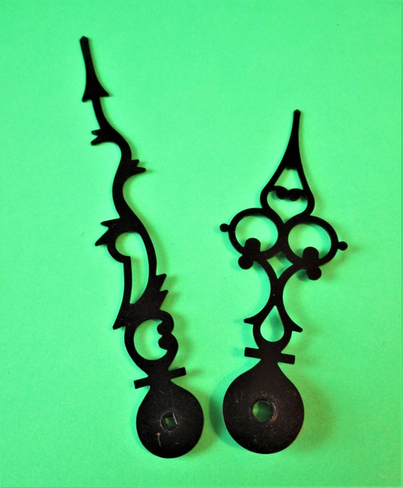 1 Pair of Vintage Black Painted Solid Brass Serpentine Style Clock Hands for your Clock Projects - Jewelry Making - Stk#754