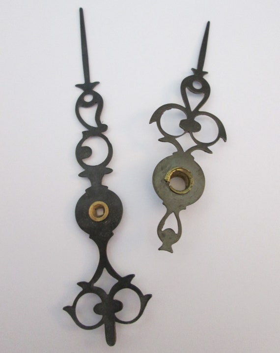 1 Pair Vintage Dark Gray Fancy Design Steel Clock Hands  for your Clock Projects + Jewelry Making - Steampunk Art - Crafts & Etc.....