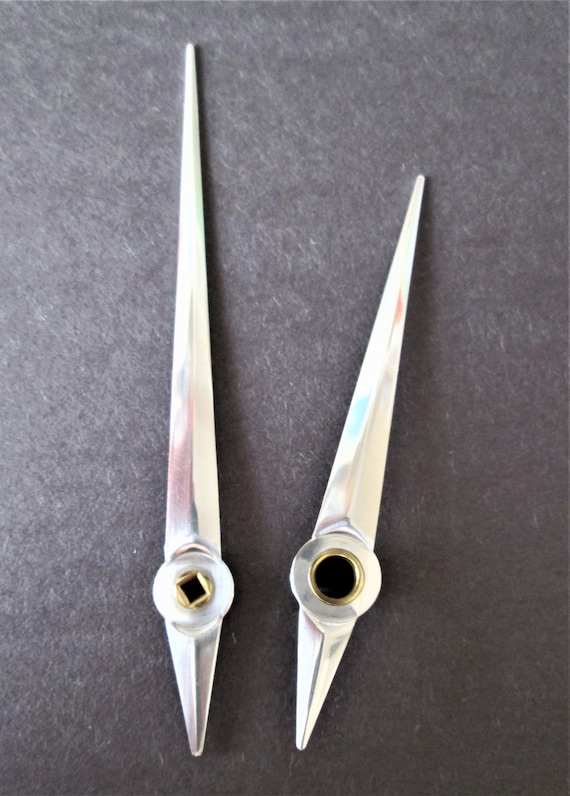 1 Pair of Shiny Chrome Sword Design Clock Hands for your Clock Projects and Etc..Stk#788