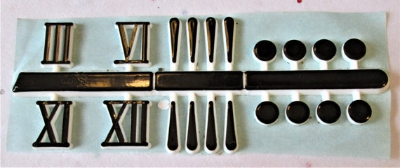 """1 Set of 1/2"""" Black Plastic with White Outline Press on Numbers for your Clock Projects, Scrap Booking, Steampunk Art Stock#55"""