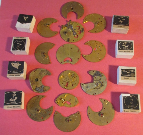 Nice Lot of Antique & Vintage Solid Brass + Steel Pocket Watch Plates and 8 Gruen Boxed Watch Parts for your Watch Projects. Steampunk Art