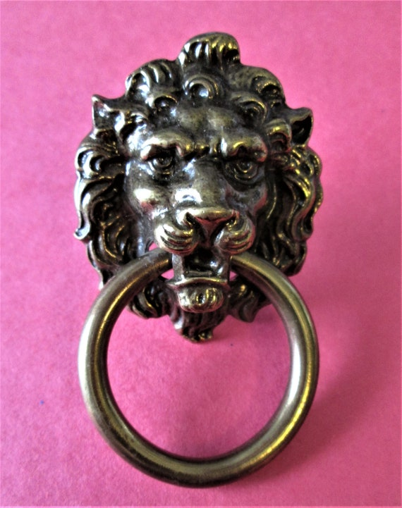 1 Vintage Antiqued Look Brass Plated Cast Lion Head Clock Case/Furniture Ornament Stk#710