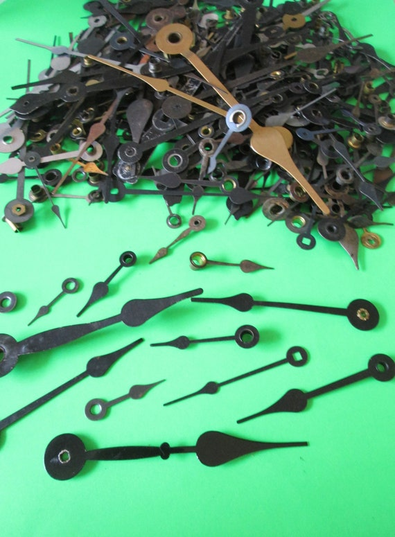 3/4 Pound Lot of Assorted Antique and Vintage Mixed Metals Spade Style Clock Hands for your Clock Projects, Steampunk Art  Stk#600