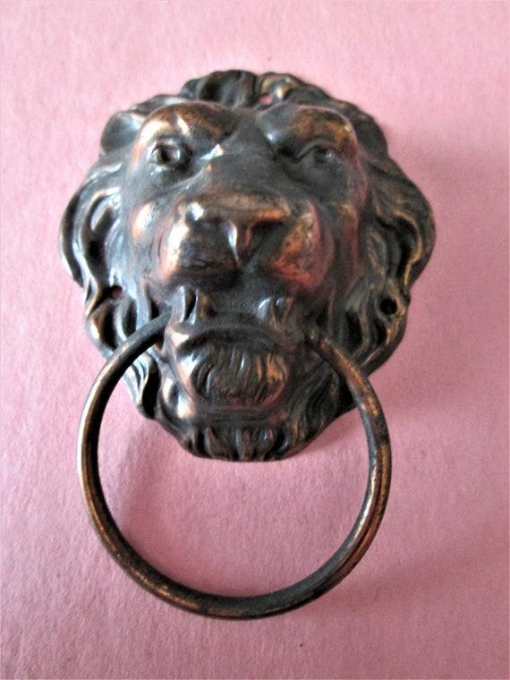 1 Vintage Dark Brown Painted Pressed Copper Lion Head Clock Case/Furniture Ornament Stk#560