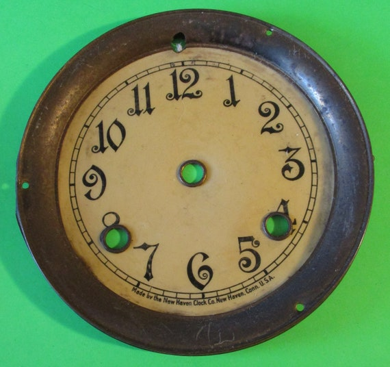 "5 3/4"" Antique New Haven Clock Dial - Paper, Tin and Brass - for your Clock Projects - Art - Stk# 754"
