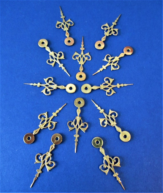"""12 Small Fancy Vintage Solid Brass Clock Hour Hands 1 1/2"""" for your Clock Projects - Jewelry Making and Etc. Stk#344"""