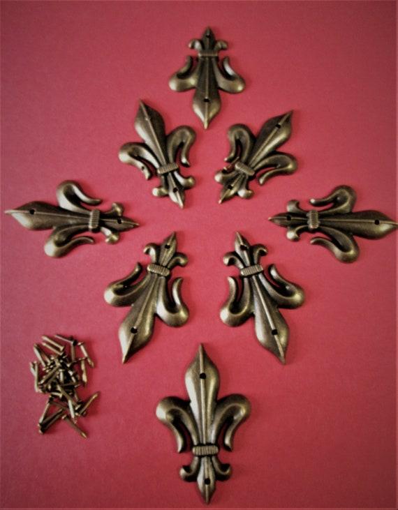 Set of 8 New Reproduction Bronze Look Cast Metal Fleur De Lys Style Clock Case/Furniture Ornaments Stk# F40