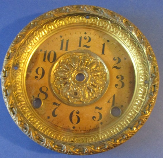 """6"""" Antique Seth Thomas Mantel Clock Front Bezel, Front Beveled Glass and Paper Dial on Tin Pan - Great Find! Stk# 815"""