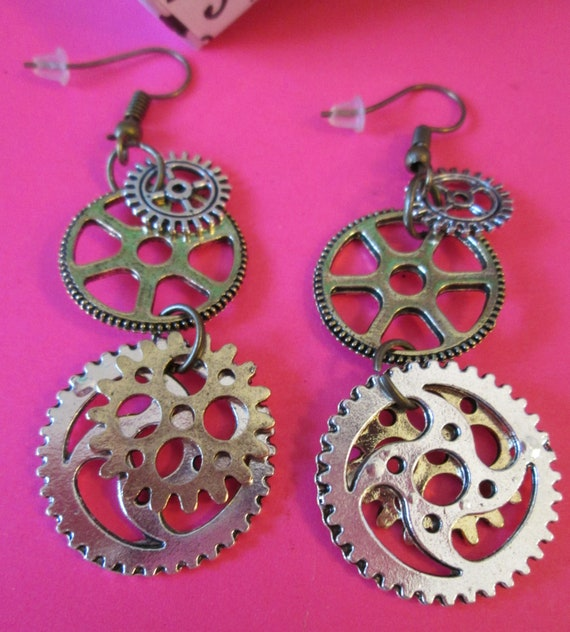 "1 Pair of New 2 3/8"" Long Shiny Cast Metal Steampunk Art Clock Parts Design Pierced Earrings  - Great Gift Idea"