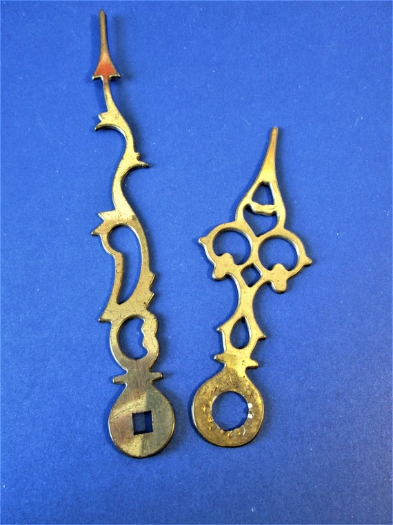 "1 Pair of Antique Solid Brass 5 1/2"" and 3 5/8"" Serpentine Style Clock Hands for your Clock Projects, Steampunk Art  Etc.Stk# 441"