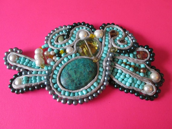 "Super Detailed Vintage Handmade 6"" Wide Beaded Patch for Hand Bags / Belts / Steampunk Art"