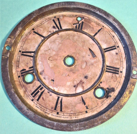 """Old and Worn Vintage Waterbury Clock Co. 5 3/8"""" Paper on Steel Clock Dial for your Clock Projects, Steampunk Art. Stk#616"""