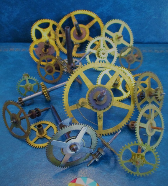 20 Assorted Large and Medium Sized Antique Clock Wheels With Other Parts Attached for your Clock Projects - Steampunk Art - Stk# 399