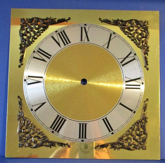 "New Large Fancy Thick Aluminum German Made Clock Dial with Corner Ornaments 9 3/4"" x 9 3/4"" for your Clock Projects - Art Stk"