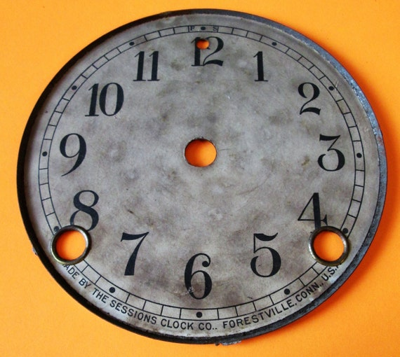 "4 3/4"" Antique Sessions Paper Dial on Metal Pan for your Clock Projects , Steampunk Art and Etc..."