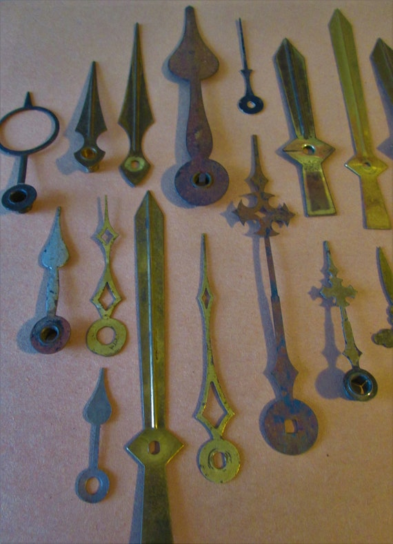 28 Old Tarnished and Rusty Assorted Clock Hands for your Clock Projects - Jewelry Making - Steampunk Art - Crafts & Etc.....