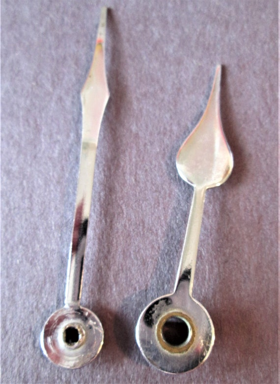 1 Pair of Shiny Chrome Spade Style Clock Hands for your Clock Projects - Jewelry Making & Steampunk Art