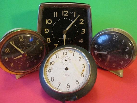 4 Assorted Westclox Alarm Clocks for Parts, Repair, Steampunk Art & Etc..
