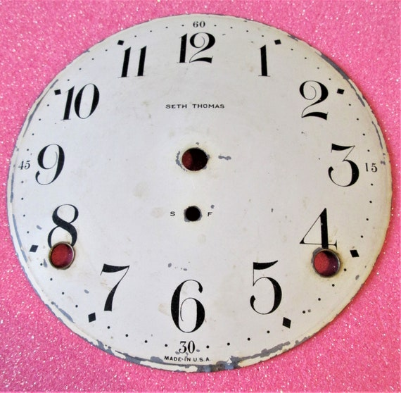 "5"" Old Domed Painted Steel Seth Thomas Clock Dial for your Clock Projects, Steampunk Art and Etc..Stk#427"