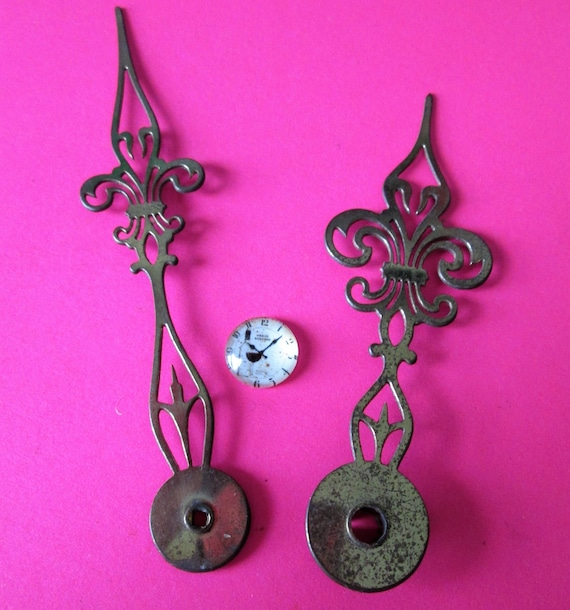 1 Pair of Antique Solid Brass Fancy Clock Hands for your Clock Projects - Jewelry Making - Steampunk Art - Crafts & Etc.....