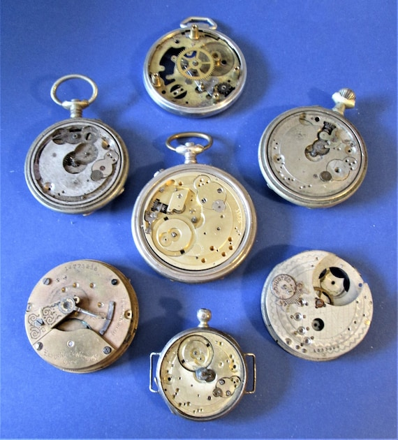 7 Antique Watch Mechanisms for Parts - Steampunk Art - Jewelry Crafts and Etc...Stk# W69