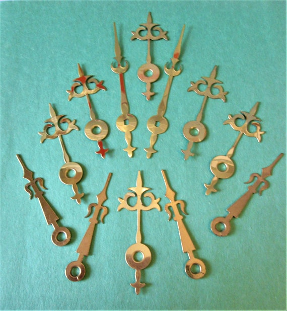 16 Pairs of New Shiny Brass Plated Steel Serpentine Design Clock Hands for your Clock Projects, Steampunk Art, Jewelry Making Stk#324