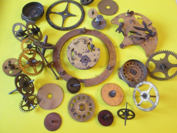 28 Assorted Antique Solid Brass Clock Parts for your Clock Projects - Steampunk Art - Jewelry Crafts