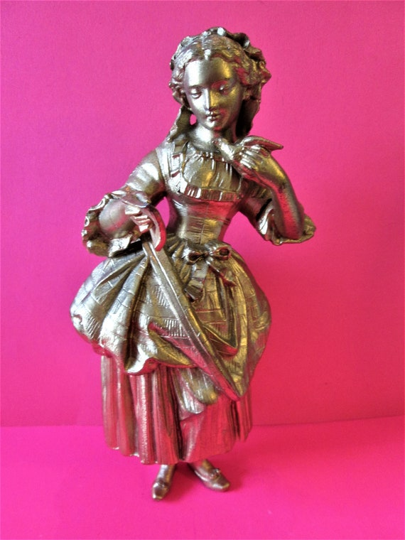 1 Beautiful Vintage Large Shiny Gold Painted Girl with Bird and Book Heavy Cast Metal Clock Topper/Furniture Ornament *Slightly Damaged*