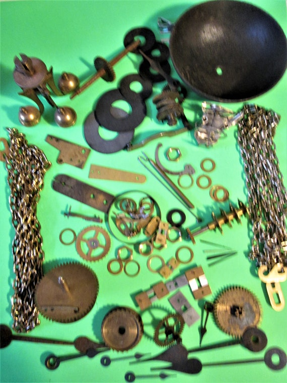 1 3/4 Pound Lot of Assorted Vintage Clock Parts and Hardware for your Clock Projects, Steampunk Art and Etc..Stk# 961