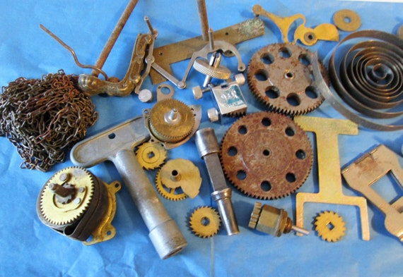 2 Pounds of Old Clock Parts & Pieces for your Clock Projects, Steampunk Art, Metalworking and Etc..