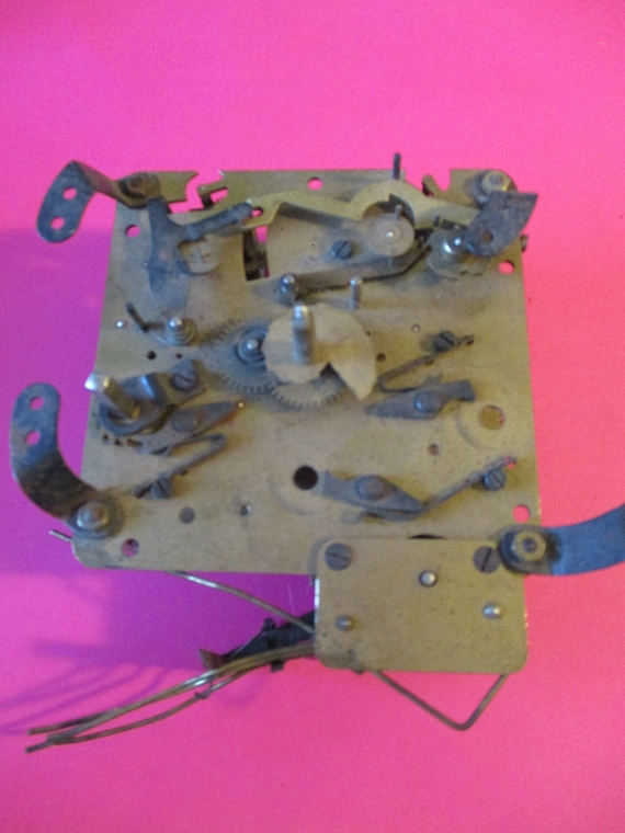 Old and Tarnished German Made Partial Clock Works With Key for Parts/Repair - Steampunk Art - Stk# 156