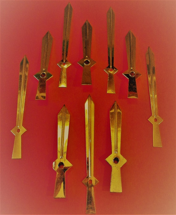 5 Pairs of Old Solid Brass Sword Design Clock Hands for your Clock Projects, Steampunk Art, Crafts and etc..Stk#2024