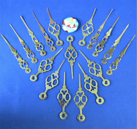 9 Pairs of Vintage Shiny Brass Plated Steel Clock Hands with Second Hands For I Shaft Battery Movements Stk# 302