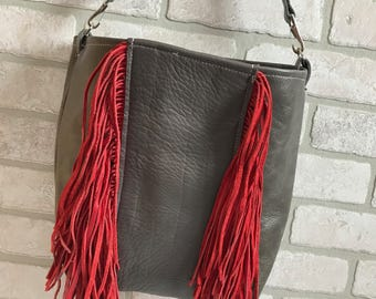 Grey Leather handbag with red leather fringe