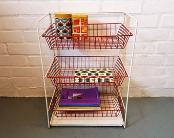 Vintage storage rack in red and white