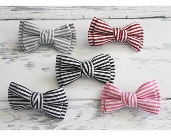 Baby Headband, Baby Bow, Pigtail Bows, Nylon Headband, Stripe Bow Headband, Double Bow, Nylon Baby Headband, Hair Clip, Nylon Headband Bow