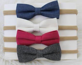 Baby Headband Set, Baby Headbands, Baby Headband, bow Headband Set, Nylon Headband, Newborn Headband, Small Bows, Baby Bows