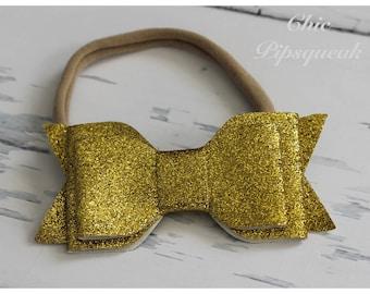 Glitter Bow Headbands, Nylon Headbands, Newborn Headband, Sparkle Bow Headbands, Baby Headbands, Toddler Headband,Girls Headband,Glitter Bow