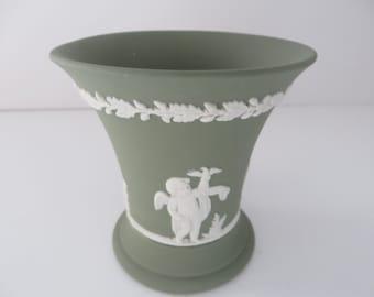 Wedgwood Jasperware vintage 1970's sage green posy vase