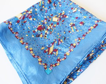 Vintage 1980's blue and red patterned scarf