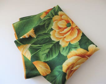 St. Michael Vintage 1960's  green and gold floral scarf
