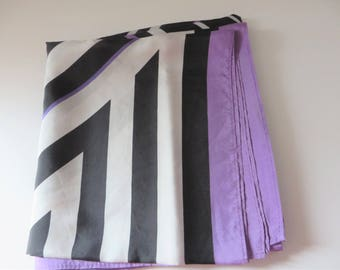 Vintage 1990's black, white and lavender scarf