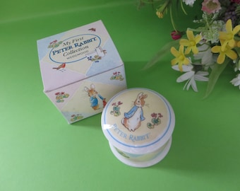 Wedgwood Peter Rabbit vintage 1990's First lock of hair lidded pot
