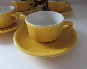 Apilco Espresso 1980's yellow coffee cup and saucer