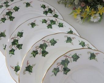 Colclough vintage 1960's Green Ivy leaf  Dessert plate