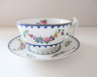 Copeland Spode antique blue floral breakfast cup and saucer